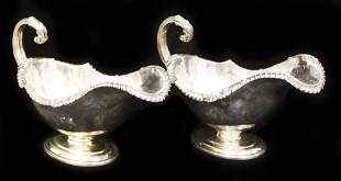 PAIR OF LONDON SILVER GRAVY BOATS, 19TH C.