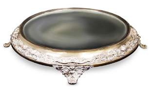 VINTAGE SILVER PLATED FOOTED PLATEAU MIRROR