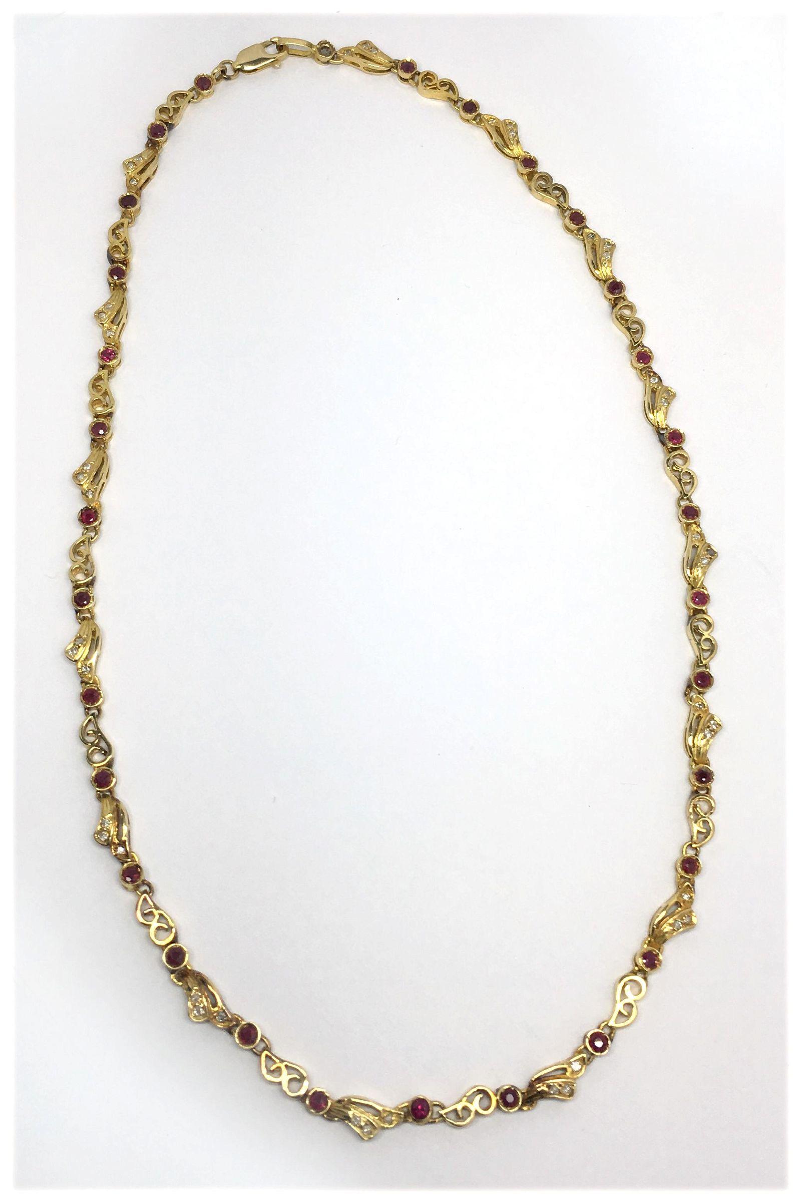 14KT GOLD NECKLACE W/ RUBIES & DIAMOND