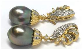 18KT GOLD DROP TAHITIAN PEARL & DIAMOND EARRINGS