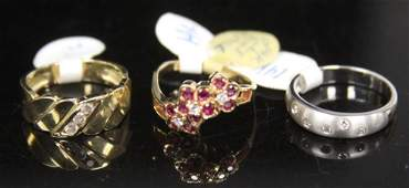 LOT OF 3 14KT GOLD RINGS WITH DIAMONDS