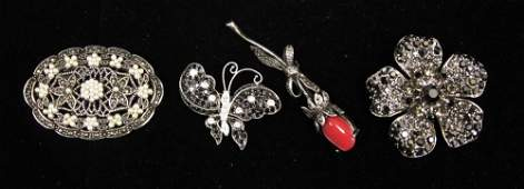 LOT OF 4 MARCASITE FIGURAL PINS