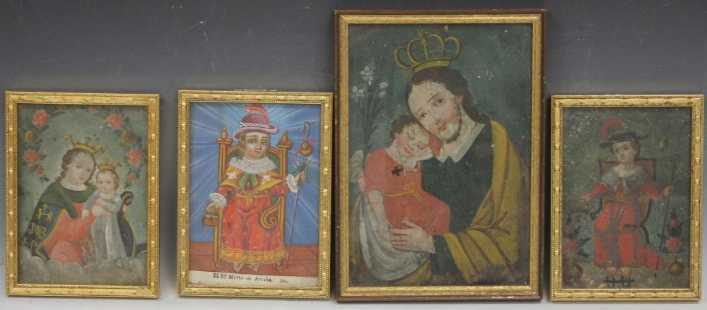 MEXICAN RETABLO OIL ON PANELS, 19TH C.- LOT OF (4)