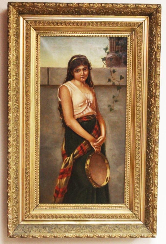 19TH C. OIL ON CANVAS, PORTRAIT WOMAN W/TAMBORINE