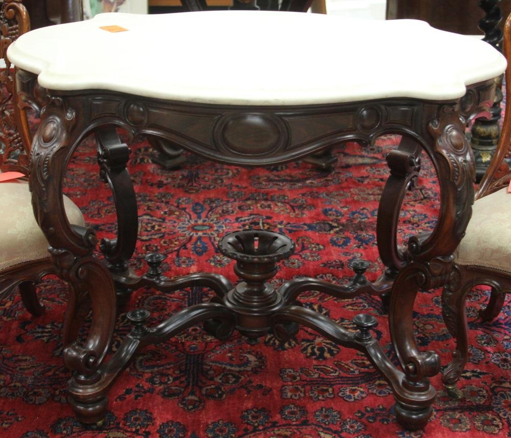 AMERICAN ROSEWOOD ROCOCO MARBLE TOP CENTER TABLE