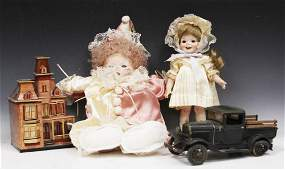 LOT OF (4) VINTAGE TO MODERN DOLLS, TOY TRUCK