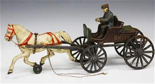 VINTAGE CAST IRON HORSE CARRIAGE TOY