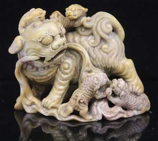 CHINESE CARVED SOAPSTONE FIGURE OF LIONS