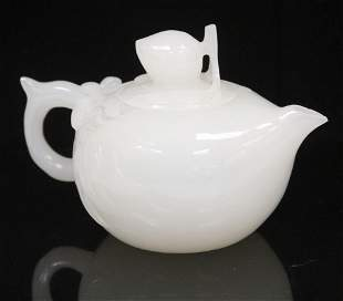 CHINESE PEKING GLASS CARVED TEAPOT