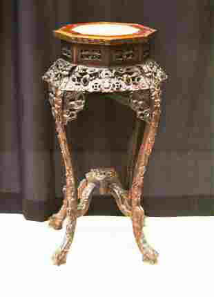 CHINESE CARVED ROSEWOOD STAND W/ /MARBLE INSERT