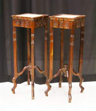 PR. CHINESE CARVED ROSEWOOD MARBLE TOP STANDS