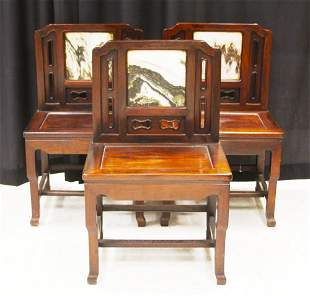 (3) CHINESE ROSEWOOD MARBLE INSERT CHAIRS, 19TH C