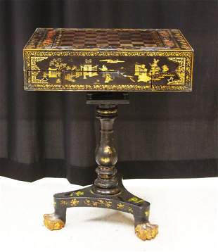 CHINESE 18TH C. EXPORT LACQUERED GAMES TABLE