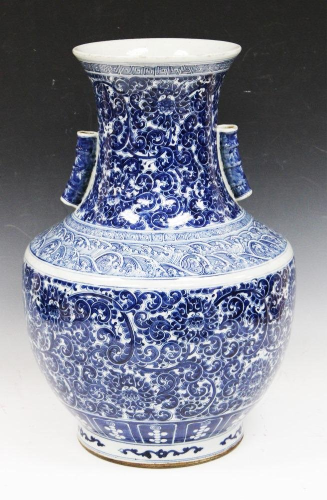 EARLY CHINESE BLUE & WHITE PORCELAIN VASE, 18""