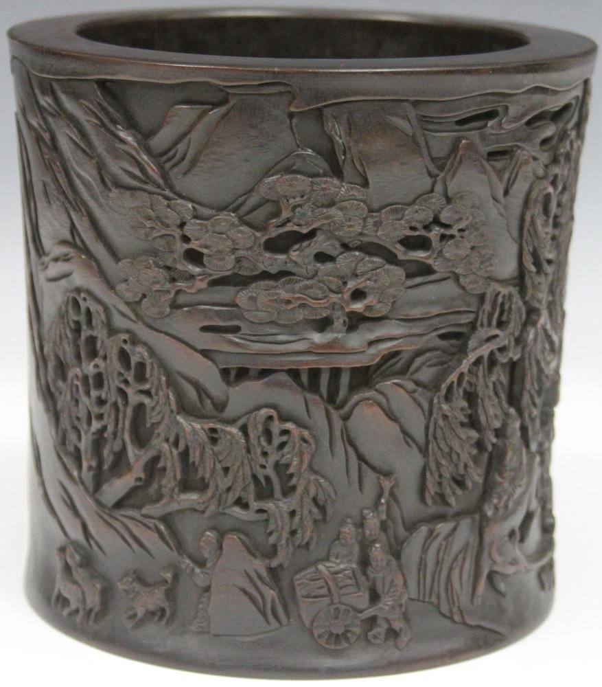 CHINESE CARVED WOOD BRUSH POT W/ FIGURES