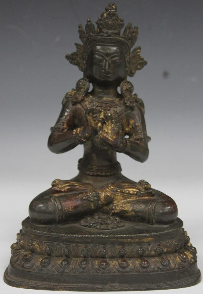 CHINESE CAST METAL SEATED BUDDHA