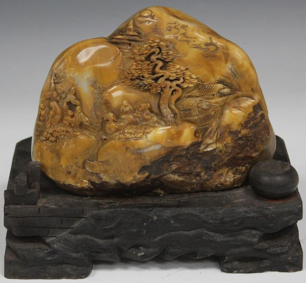 CHINESE CARVED SCHOLAR'S STONE ON STAND