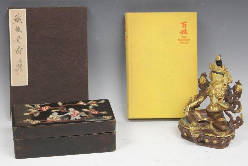 LOT OF (4) CHINESE DECORATIVE: BOX, BOOKS, STATUE