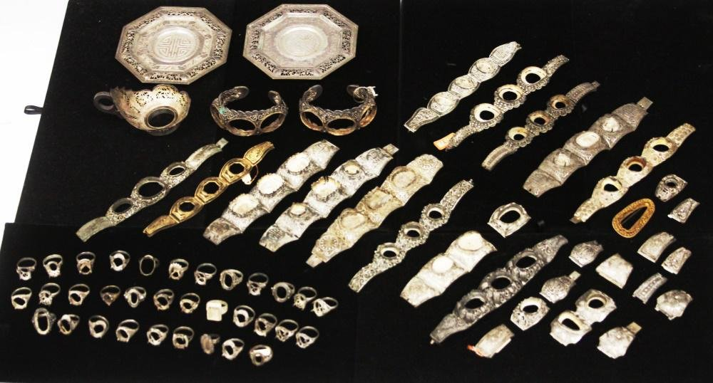 COLLECTION OF ANTIQUE CHINESE SILVER JEWELRY/MISC.
