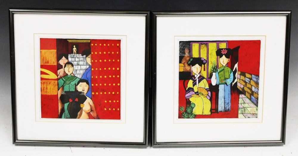 PAIR OF CONTEMPORARY CHINESE ACRYLIC PAINTINGS