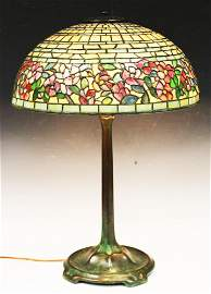 TIFFANY STUDIOS LAMP W/ WILD ROSE BORDER