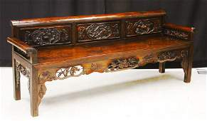 CHINESE CARVED WOOD BENCH, 19TH C.