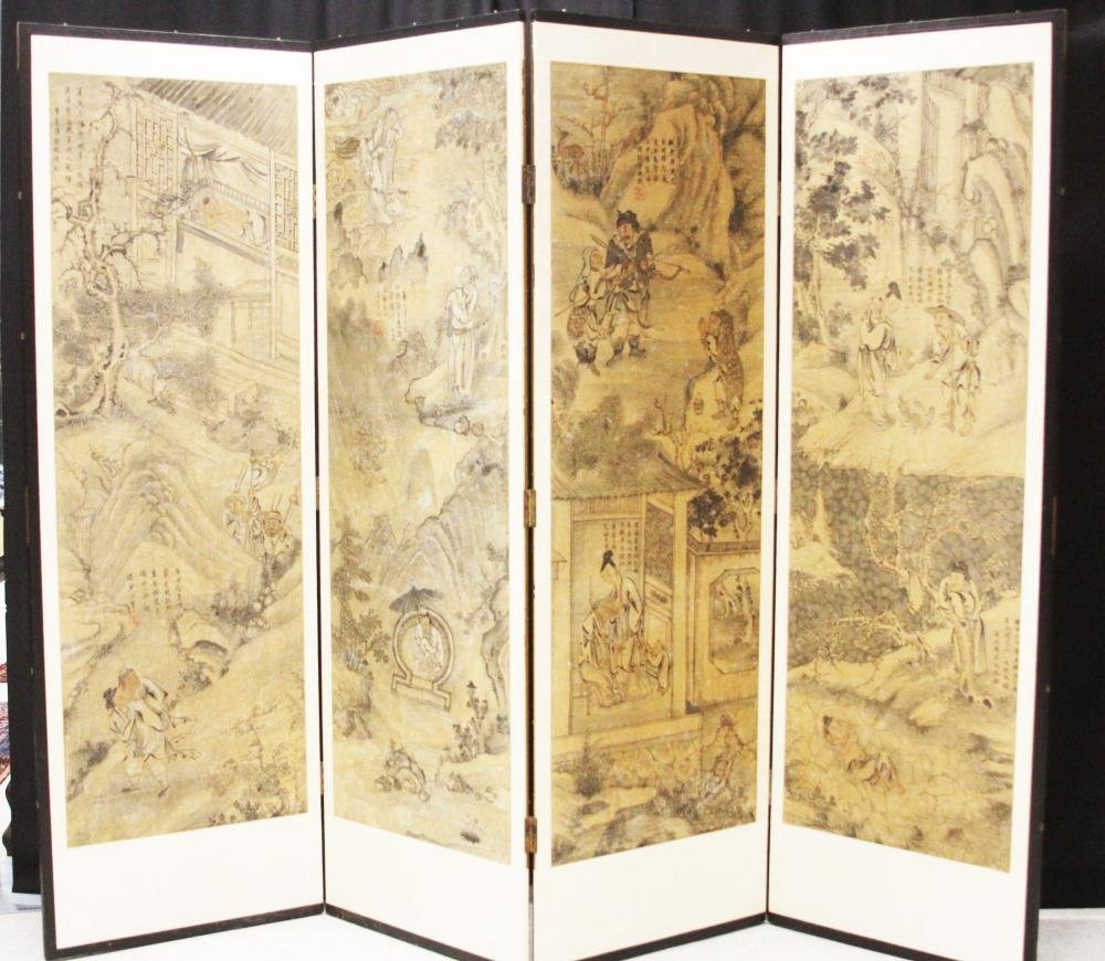 EARLY CHINESE  PAINTING ON FOUR PANELS