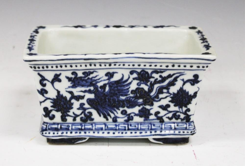 CHINESE BLUE AND WHITE PORCELAIN LOW BOWL