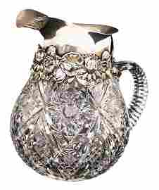 STERLING SILVER CUT CRYSTAL PITCHER