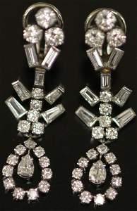 PAIR OF DIAMOND STERLING SILVER DROP EARRINGS