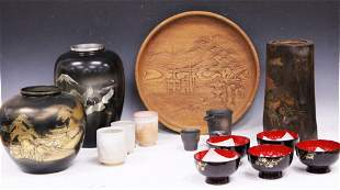 COLLECTION OF VINTAGE JAPANESE POTTERY BRUSH POT