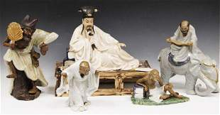 LOT OF 5 CHINESE POTTERY FIGURAL STATUES
