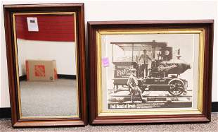 LOT OF 2 FRAMED MIRROR AND RAINER ADVERTISEMENT