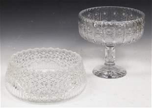 LOT OF 2 CUT GLASS BOWL STEMFOOT VASE