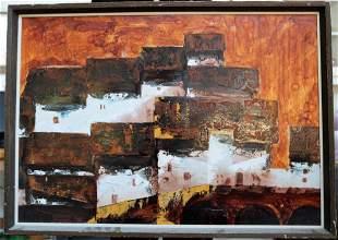 OIL ON CANVAS OF HILLSIDE VILLAGE FRAMED