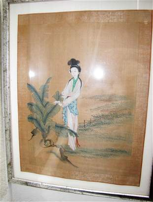 PAINTING OF WOMAN TOUCHING LEAVES FRAMED