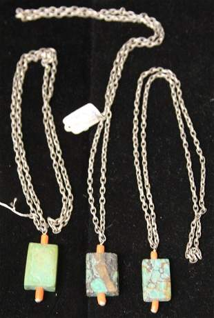 LOT OF 3 QING DYNASTY SILVER COURT NECKLACES
