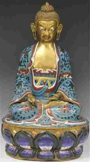 EARLY CHINESE CLOISONNE BUDDHA 24 H
