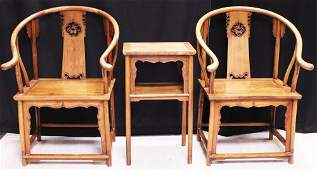 VINTAGE CHINESE HUANGHUALI (2) CHAIRS & TABLE