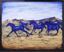 RUNNING BLUE HORSES CONTEMPORARY OIL ON CANVAS