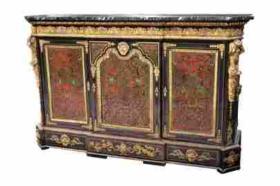FRENCH BOULLE MARBLE TOP CABINET