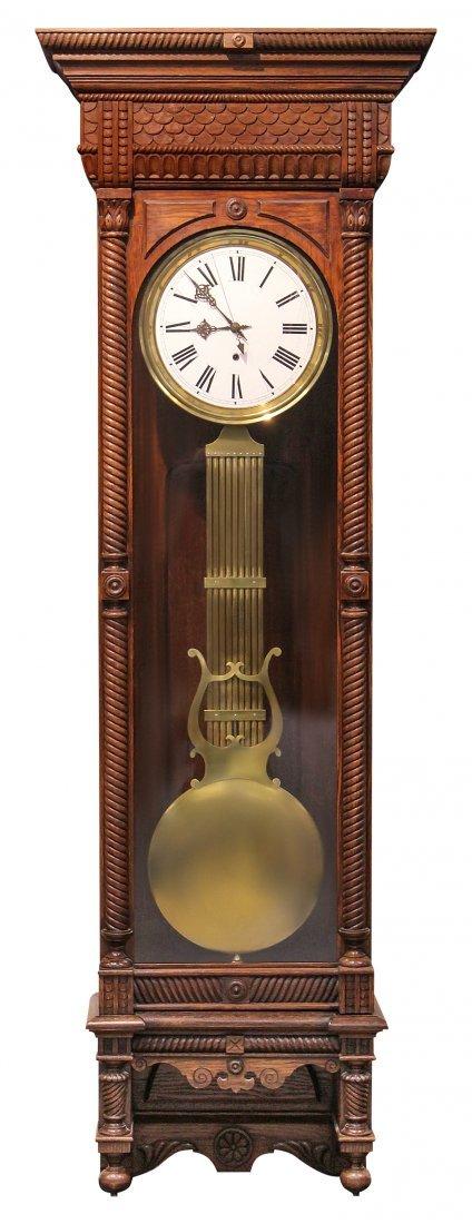 WATERBURY NO. 12 OAK JEWELERS REGULATOR CLOCK
