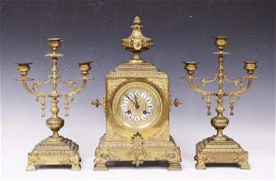 FRENCH 19TH C. CLOCK & CANDELABRA (3) PC. SET