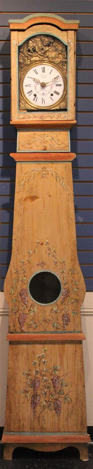 FRENCH MORBIER 19TH C. PAINTED PINE TALL CLOCK