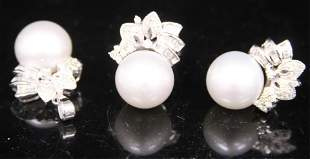 LADYS 14KT PEARL & DIAMOND RING, PENDANT,EARRING