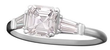 LADYS .83 CT. DIAMOND PLATINUM RING W/G.I.A. #