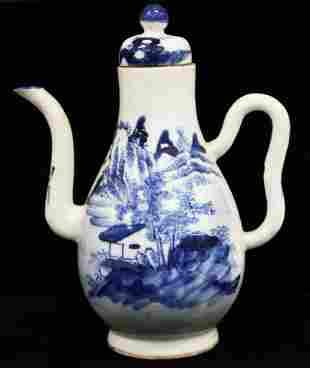 QING DYNASTY BLUE & WHITE PORCELAIN TEA POT