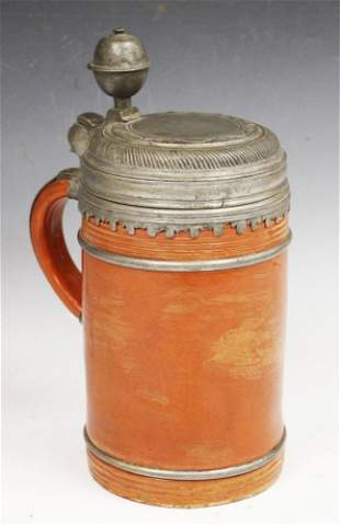 GERMAN EARTHWARE POTTERY STEIN, 17TH C.