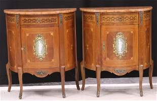 FRENCH VINTAGE INLAID MARBLE TOP COMMODES