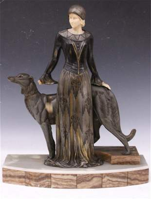 ART NOUVEAU FIGURAL STATUE WITH GREYHOUND